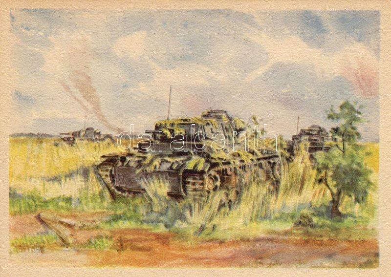 Álcázott tank, 'Getarnte panzer' / camouflage armor, tank, pinx. Hermann Schneider