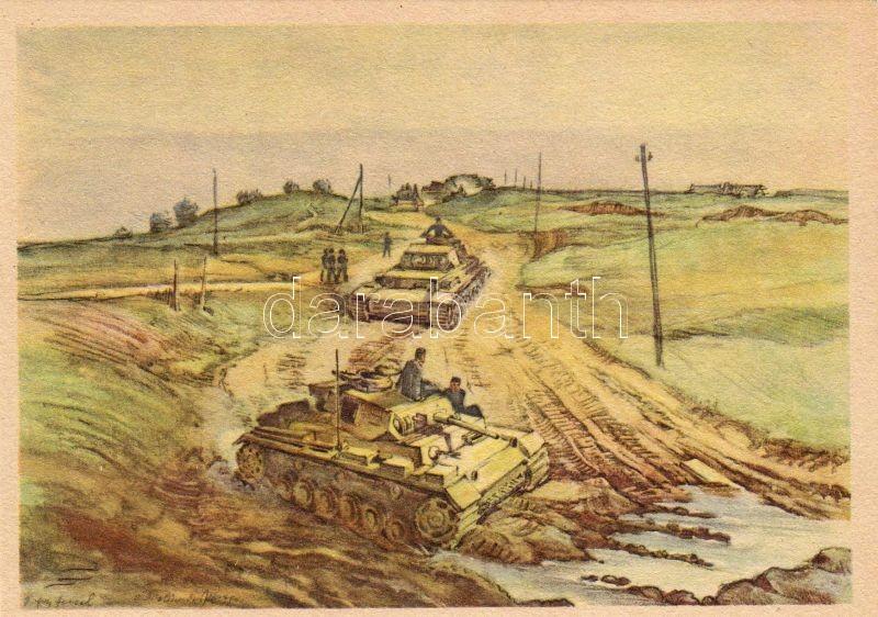 'Anrollende panzer' / panzer tank s: Hensel, Tank s: Hensel