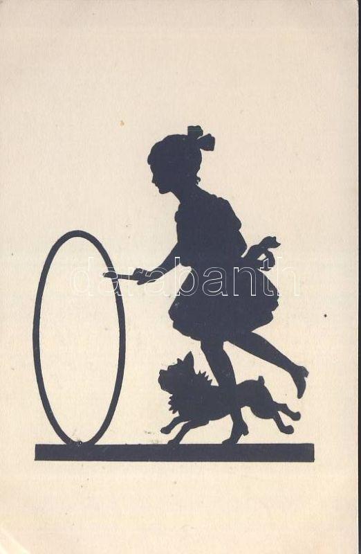 Silhouette, girl with dog, Sziluett, Lány kutyával
