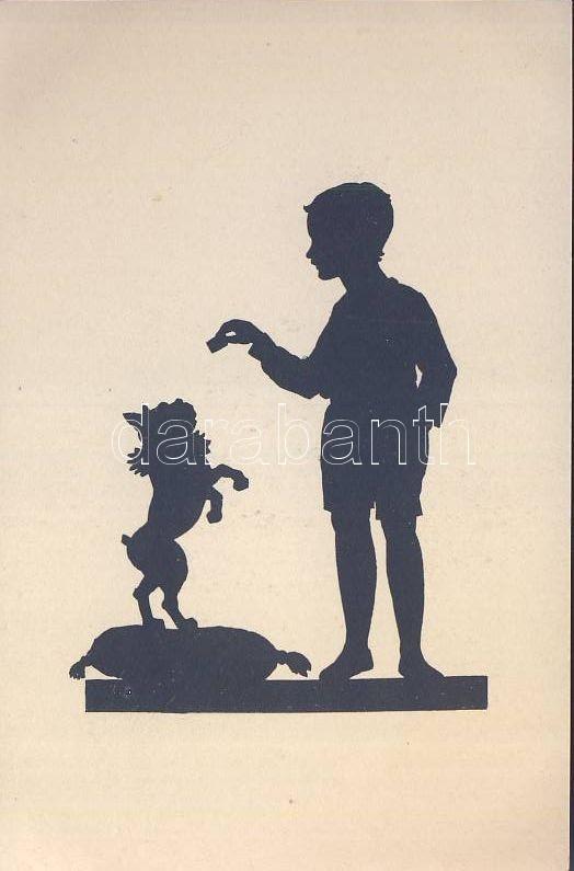 Silhouette, boy with dog, Sziluett, fiú kutyával