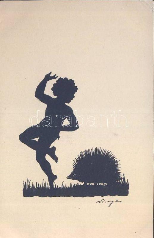 Silhouette, boy and hedgehog s: Linger (?), Sziluett, fiú és sün s: Linger (?)