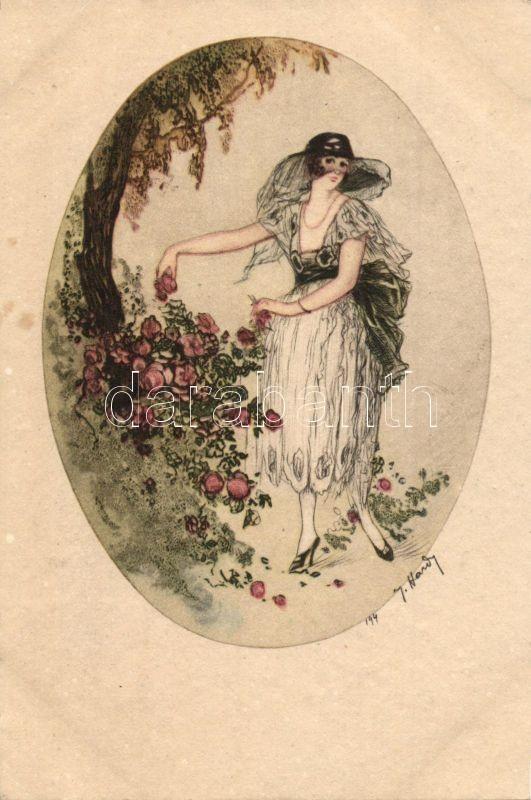 Italian art postcard, lady, Italien Gravur 1784. s: J. Hardy, Olasz művészlap, hölgy, Italien Gravur 1784. s: J. Hardy