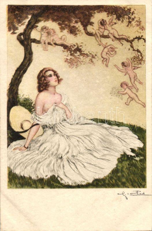 Italian art postcard, erotic lady, Italien Gravur 1962. artist signed, Olasz művészlap, erotikus hölgy, Italien Gravur 1962. szignós