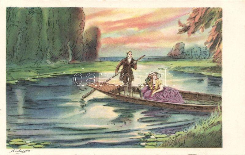 Romantic couple, boat s: Anbart, Romantikus pár, csónak s: Anbart