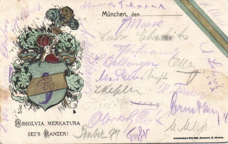 'Absolvia Merkatura sei's Panier' / Bavarian school alumni society coat of arms, litho