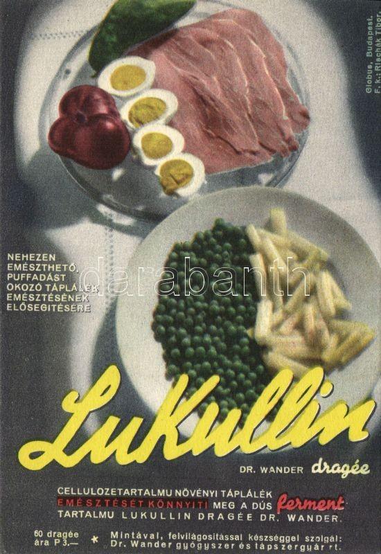 Lukullin medicine advertisement, Lukullin gyógyszer reklám, 'Dr. Halász Margit főorvos úrnőnek címezve'