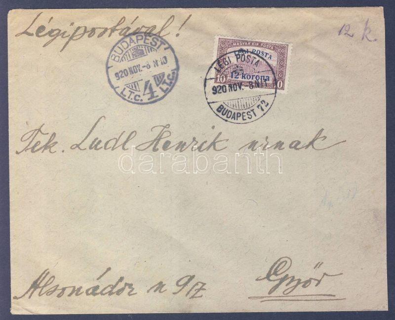"""Airmail cover """"BUDAPEST"""" - """"GYŐR"""", 1920.11.08. (2. díjszabás) Légi levél Győrbe"""