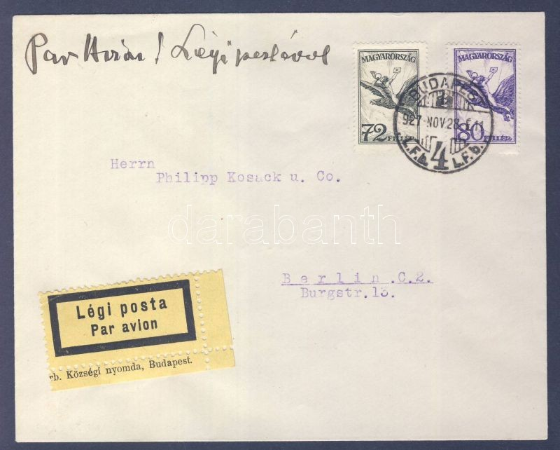 Airmail cover to Berlin, Légi levél Berlinbe