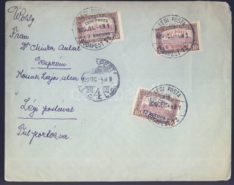 Complete set on airmail cover