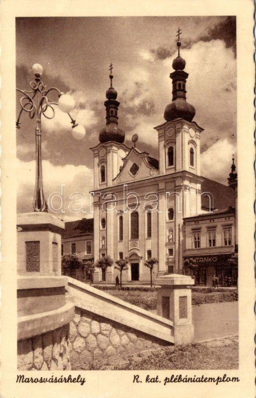 Marosvásárhely, Római katolikus plébániatemplom, Tankó üzlete, Targu Mures, Roman catholic church, shop