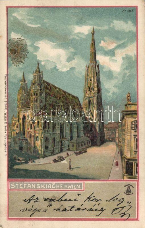 Vienna St. Stephen's Cathedral, Stephansdom litho, Bécs Szent István-székesegyház, Stephansdom litho