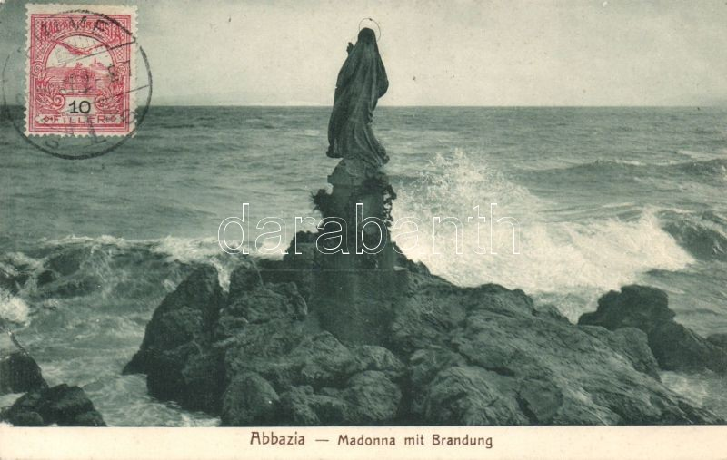 Abbazia, Madonna mit Brandung / Madonna statue