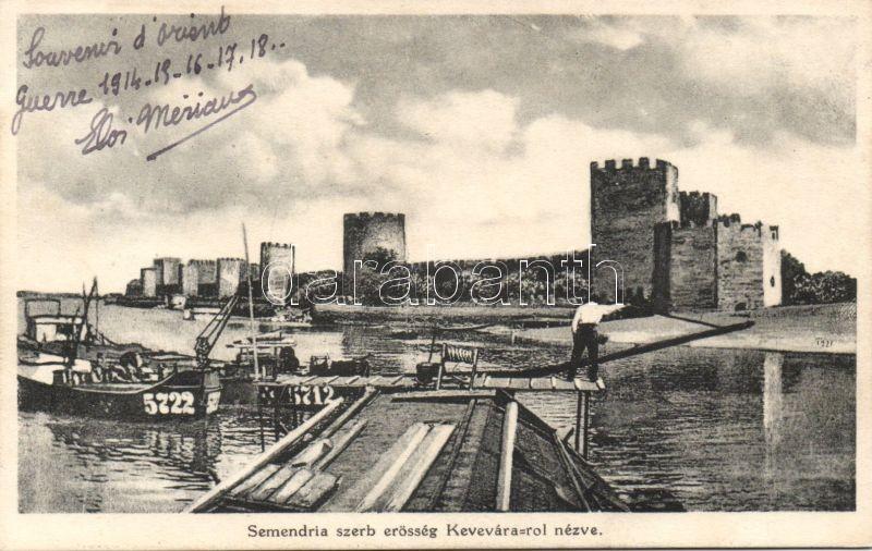 Smederevo (Semendria) Serbian fortress, barge, Szendrő, szerb erőd, uszály