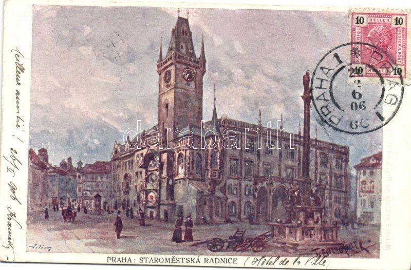 Praha, Prag; Staromestska Radnice, Hotel de la Ville / oldt town hall, hotel s: F. Engemüller