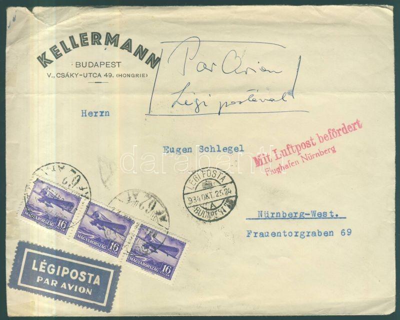Airmail cover to Nürnberg, Légi levél Nürnbergbe 1933 évi Repülő 16f hármascsíkkal bérmentesítve