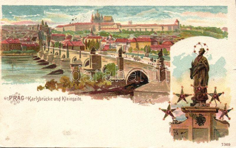 Praha, Prag; Karlsbrücke und Kleinseite / bridge, Malá Strana litho s: E. Cz.