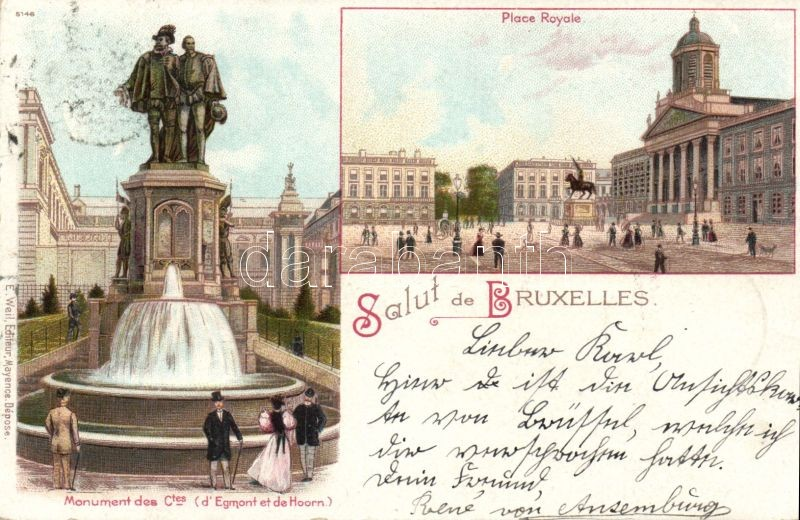 1899 Brussels, Bruxelles; Place Royale, Monument des Ctes / royal palace, statue litho