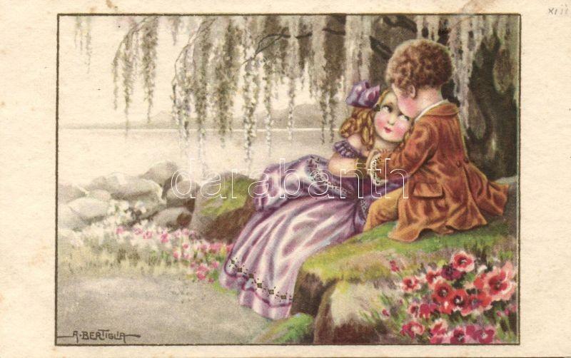 Italian art postcard, baroque child couple, Majestic C.C.M. 2527. s: A. Bertiglia, Olasz művészlap, barokk gyerek pár, Majestic C.C.M. 2527. s: A. Bertiglia