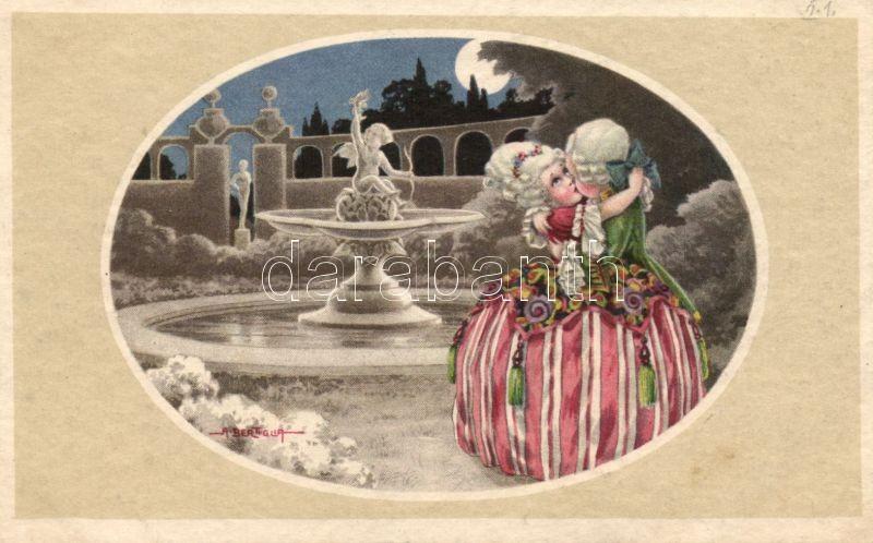 Italian art postcard, baroque child couple, Majestic C.C.M. 2473. s: A. Bertiglia, Olasz művészlap, barokk gyerek pár, Majestic C.C.M. 2473. s: A. Bertiglia