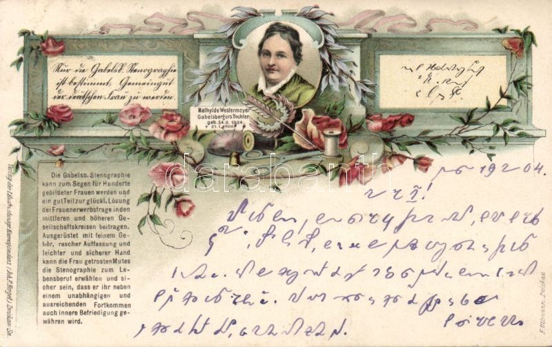 Mathylde Westermeyer, stenography litho, Mathylde Westermeyer gyorsírás litho