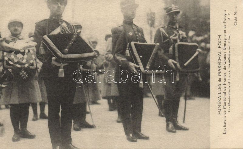 Paris the funeral of Marshall Foch; the Marshal-Sticks of France, Great Britain and Poland