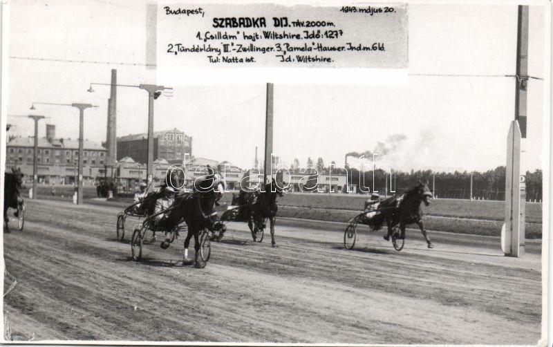 1943 Budapest, Szabadka díj, lóverseny, photo