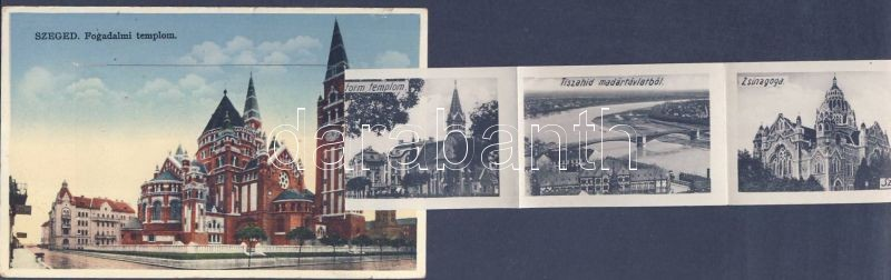 Szeged, Fogadalmi templom,zsinagóga leporellocard
