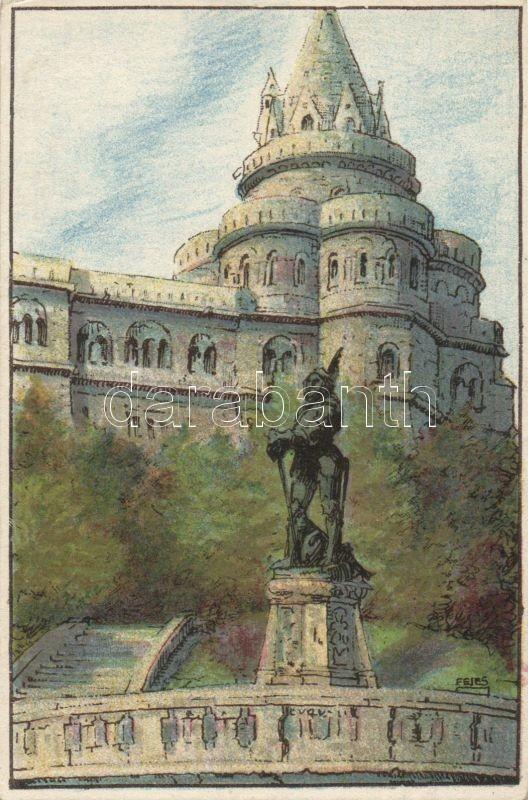 Budapest I. Halászbástya, Ungarische Werkstätte litho s: Fejes