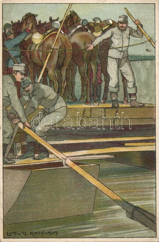 WWI military card, barge, crossing the river litho s: Ludwig Koch, Első világháborús katonai lap, átkelés a folyón uszállyal litho s: Ludwig Koch