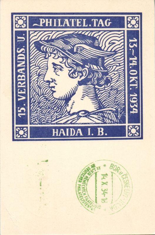 1934 Haida i. B, Philatel Tag / Philatelist Day in Novy Bor in 1934, So. Stpl