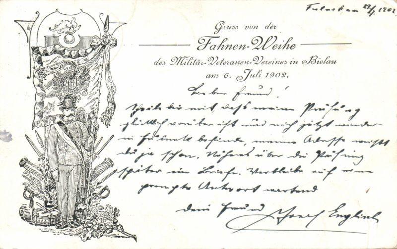 1902 Fahnen-Weihe das Militär-Veteranen Vereines in Bielau / Consecration of the flag of the military veterans association in Biala