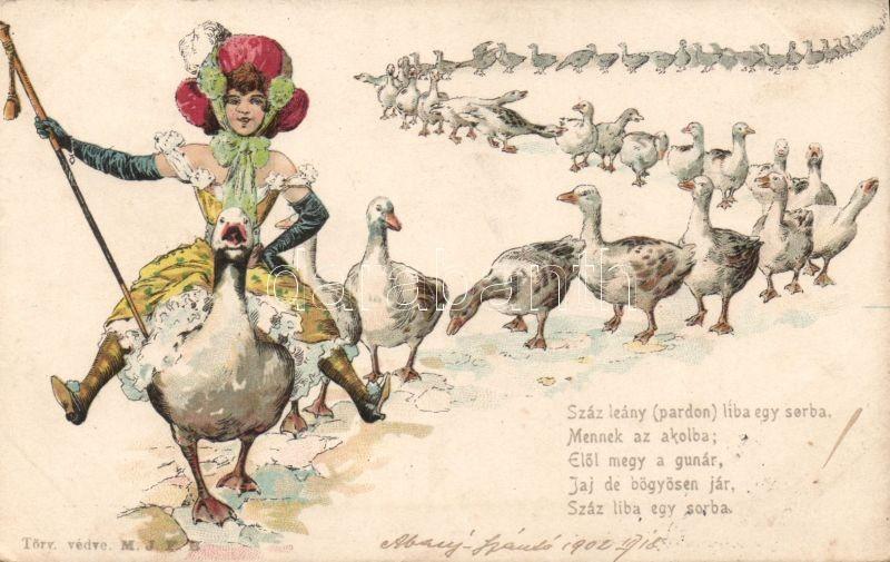 Humorous postcard, lady on goose, litho, Száz leány (pardon) liba egy sorban.. / Humoros lap, hölgy, litho