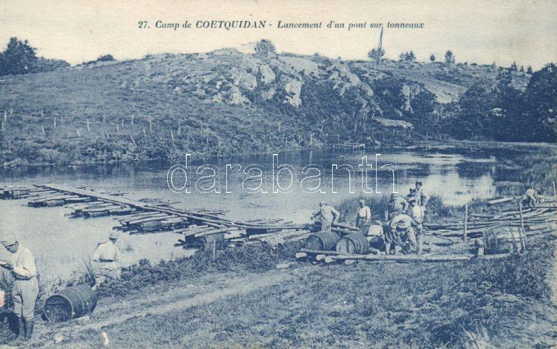 Guer, Camp de Coetquidan / French military educational facility, barrels over the bridge