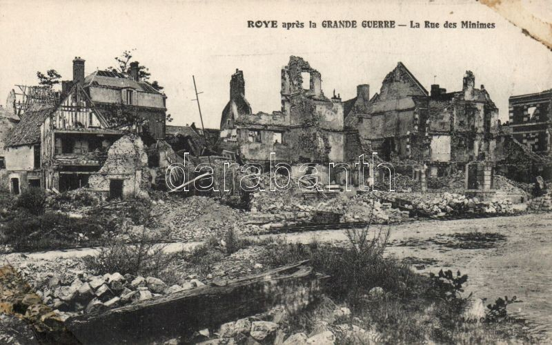 Roye, Rue des Minimes / after the war, destroyed