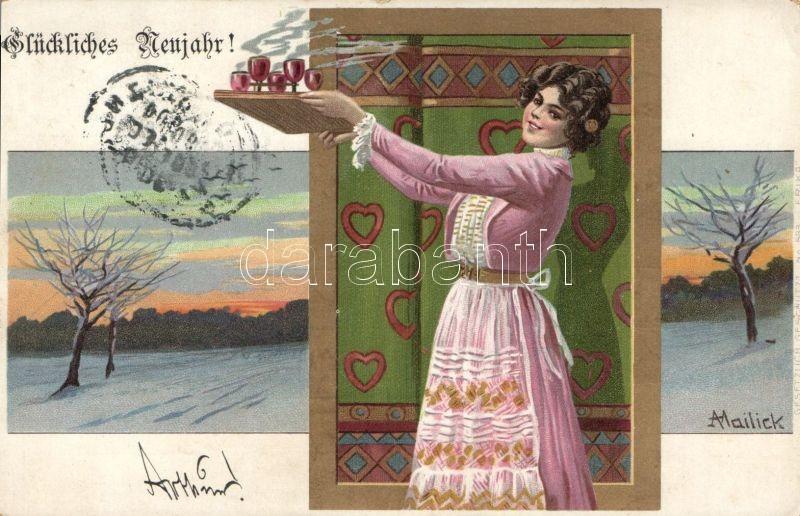 New Year housewife litho s: Mailick, Újév, háziasszony, litho s: Mailick