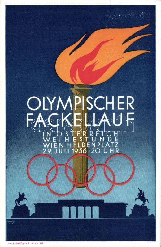 1936 Vienna, Wien; Olympischer Fackellauf / Olympic torch relay, advertisement So. Stpl (non PC), 1936 Vienna, Wien; Olimpiai fáklya vivők, reklám So. Stpl (non PC)