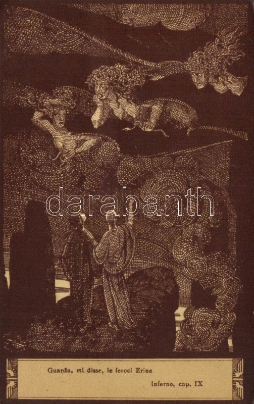Dante's Divine Comedy illustration, Inferno IX. s: Elio Anichini, Dante Isteni színjátékának illusztrációja, A Pokol IX. s: Elio Anichini