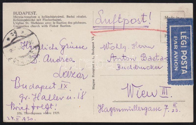 Airmail postcard to Vienna, Légi képeslap Bécsbe Repülő 80f bérmentesítéssel