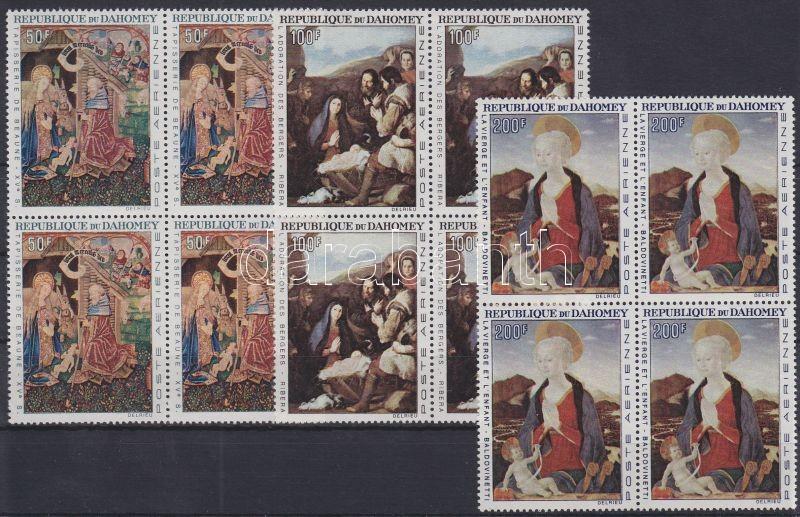 Christmas: paintings 3 blocks of 4, Karácsony: festmények 3 négyestömb, Weihnachten: Gemälde 3 Viererblöcke