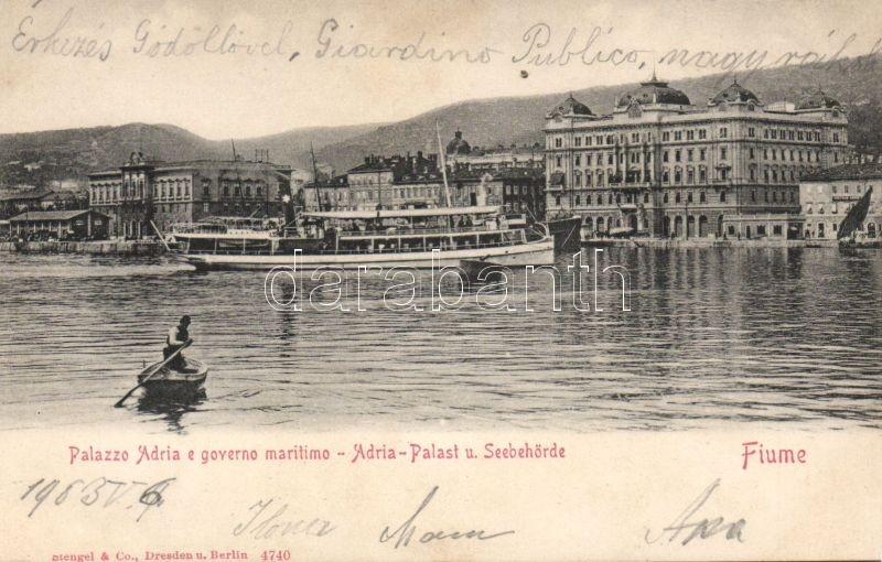 Fiume, Palazzo Adria, governo maritimo / palace, maritime government, steamship