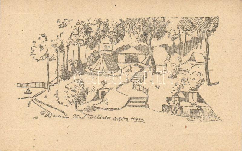 Scouts camp at Balatonaliga no.91 Hatvani Turul group, Hatvani Turul cserkésztábor, Balatonaliga 1922. 91. HT. levelező lap sorozat I.
