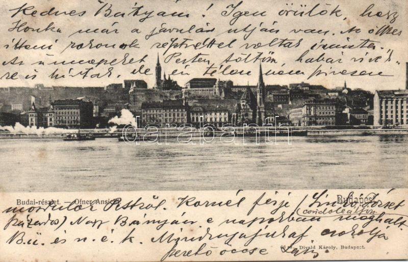 Budapest, budai oldal, kiadja Divald Károly