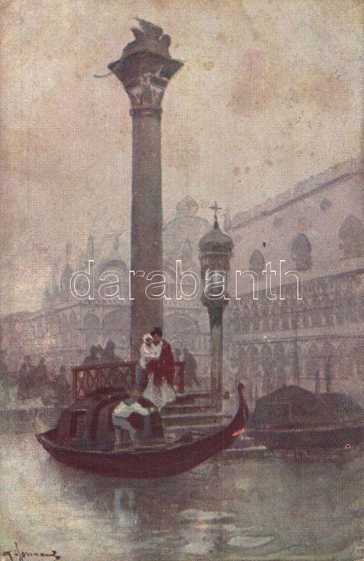 Venice, Venezia; Traghetto a S. Marco / ferry, artist signed