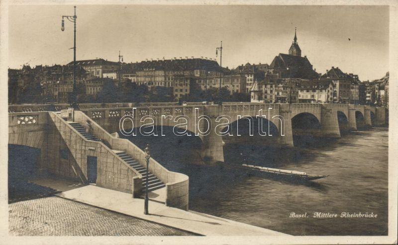Basel, Mittlere Rheinbrücke / bridge, ship