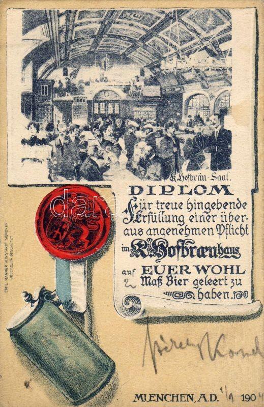 München, Hofbräuhaus am Platzl, advertisement, diploma for drinking HB beer, Emb., München, Hofbräuhaus am Platzl, Werbung, Diplom für das Trinken von Bier HB, Emb.