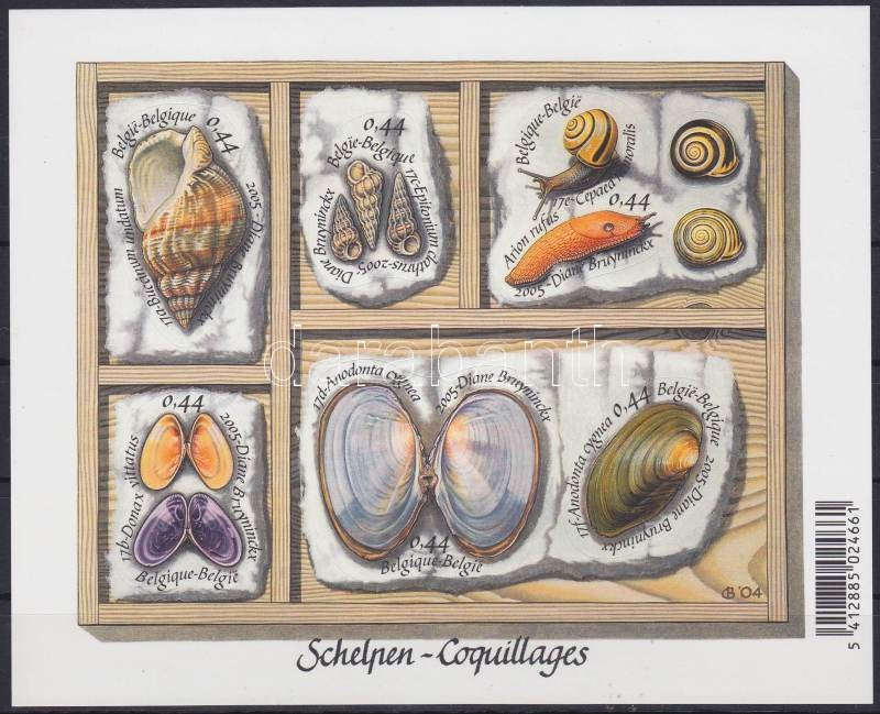 Clams and snails set self-adhesive on stamps page, Kagylók és csigák sor öntapadós bélyeglapon, Muscheln und Schnecken Satz an selbstklebendem Markenheftchen