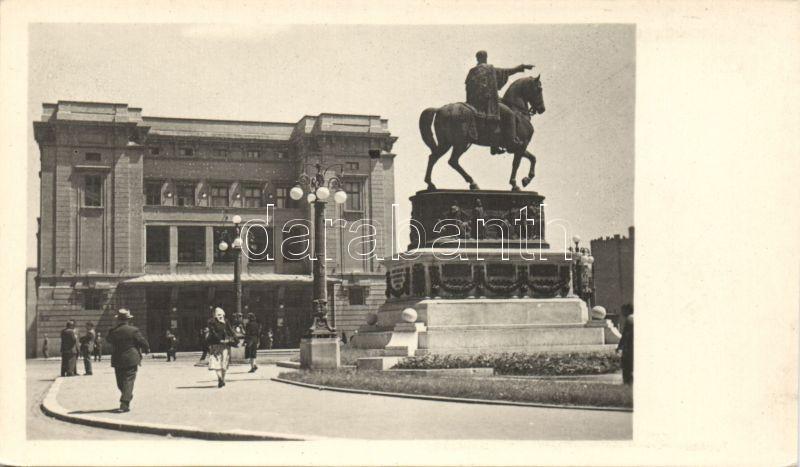 Belgrade, National Theatre and Mihail statue photo
