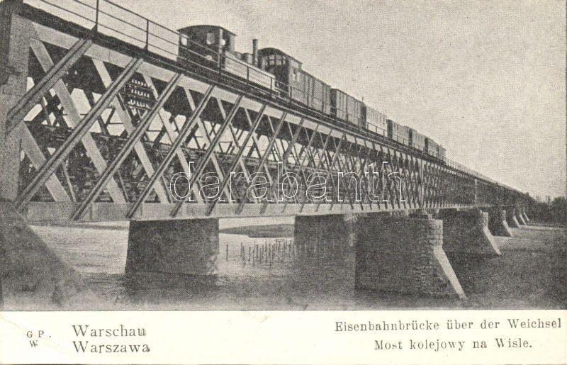 Warsaw, Warszawa; Most kolejowy na Wisle / railway bridge over river Vistula, train