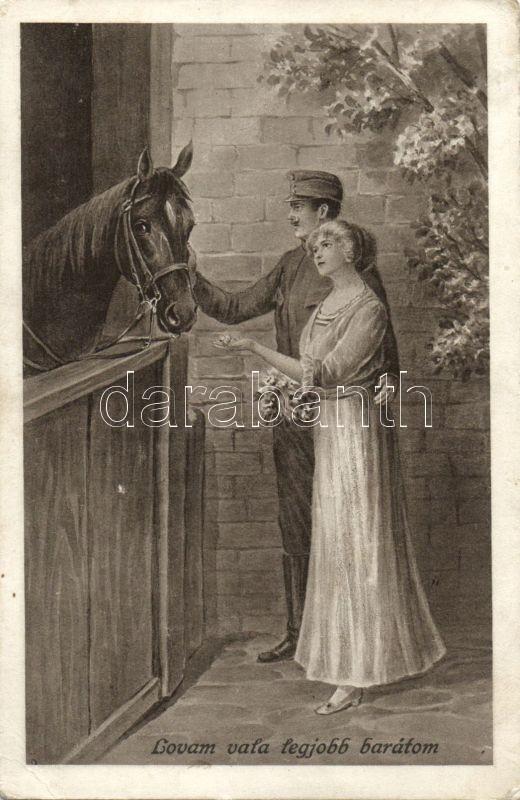 Hungarian soldier with his lover and his horse, Lovam vala legjobb barátom, katona szerelmével és lovával