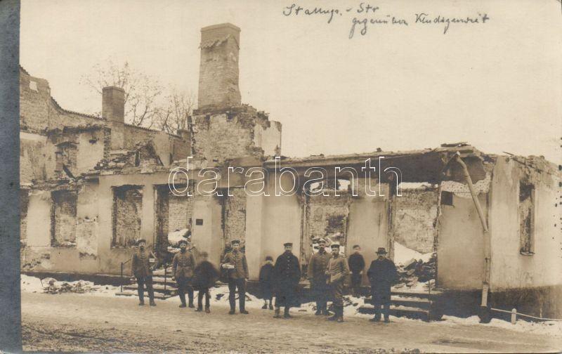 Gusev (Gumbinnen) war damaged building with soldiers photo